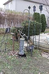 Metal And Wicker Garden Accessories. A