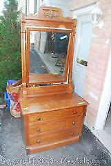 Solid Wood Antique Dresser And Mirror C