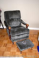 Vintage Upholstered Rocking Recliner and Ottoman B