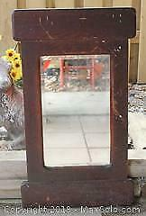 Large Solid Antique Farmhouse Mirror, Beveled Glass, Mahogany?