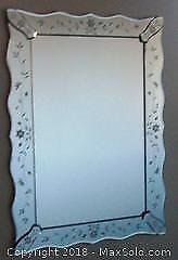 Decorative Etched Glass Mirror