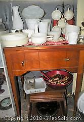 Milk glass bread box wooden salad bowl and more