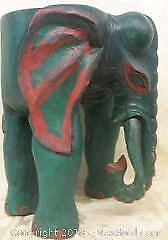 Figural Carved Wood Elephant Table