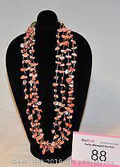 Costume jewellery, vintage MOTHER of PEARL beads tinted coral, NECKLACE.