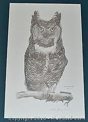 """Philip Cruden """"Great Horned Owl"""" sketch, limited edition print, s/n"""