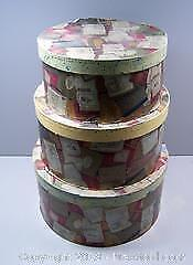 Set of Three Vintage Stacking Hat Boxes Possible Project - B
