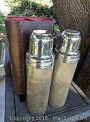 Vintage Thermos set in leather case
