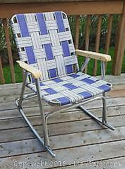 Vintage Aluminum Rocking Folding Patio Lawn Chair - Plaid Red, White & Blue Weave