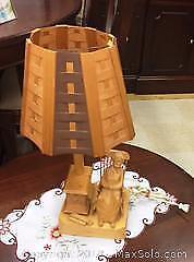Quebec Folk Art Wood Carved Lamp - Signed Caron