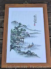 Large Framed Chinese Silk Embroidery Behind Glass - 2 Men In Boat