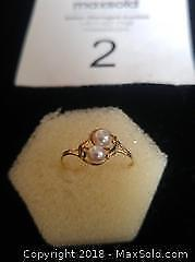 14K Gold & double Pearl ring - A