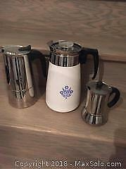 3 Coffee Pots, Vintage Corning, New Bialetti Etc