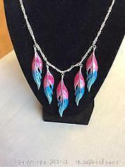 A Necklace Of Feathers Fuchsia And Turquoise
