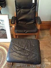 Leather Chair And Ottoman B