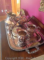 Silver Plate Reproduction Tea Set With Tray- A