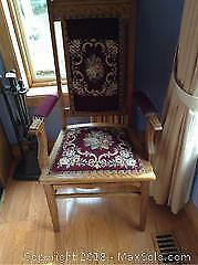 Antique Oak Tapestry Chair- B