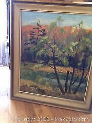 Oil painting by Edith Smith (signed) of woodland scene. 1867-1954