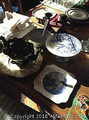 Vintage Teapot And Dishes- A
