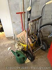 Hand Truck, Metal Tub And Brushes B