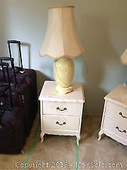 Painted Wood Night Table And Lamp B