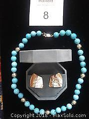 Turquoise & sterling necklace + sterling silver pierced earrings
