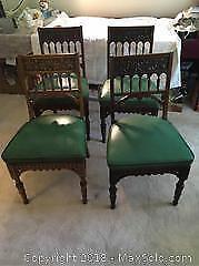 Set Of 4 Antique Carved Oak Chairs