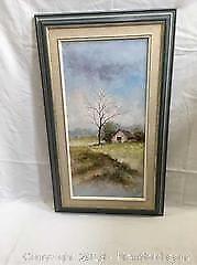 Oil On Canvas Painting Rural Scene