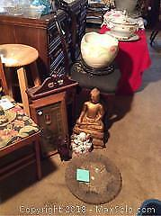 Buddhas, Jardiniere and Display Cabinet A