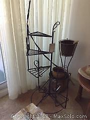 Spiral Plant Stand and planters B