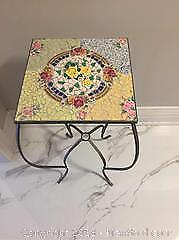 Metal & Mosaic Pretty Decorative Table/plant Stand