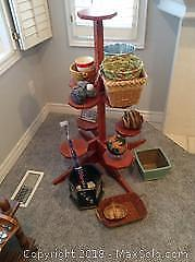 Wood Plant Stand And Contents B