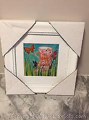 Framed Art Butterflies and Tea Cups and canvas on wood frame bathroom with a view