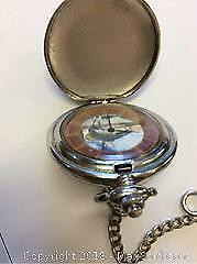 Quartz Pocket Watch Bass Fishing Motif Working