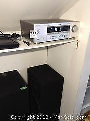 Receiver, DVD Player and Speakers. C