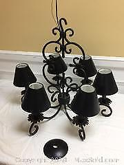 Rod Iron chandelier - dining room - lamp shades covers are metal (not fabric)