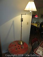 Industrial Wire Spool Table and floor lamp - C