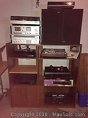 Stereo Equipment And Cabinet