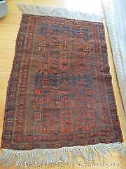 Vintage Hand Woven, All Wool Persian Tribal Rug With Long Tassels. Architectural Designs.