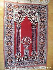 Vintage Hand Woven. All Wool, Persian Prayer Rug With Architectural Motifs.