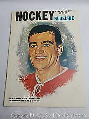 Blueline Hockey Magazine December,1957 Bernie Geoffrion bombastic Boomer Cover painted by Tex Coulter