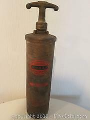Vintage Refillable Fire Extinguisher, Iron and Planter