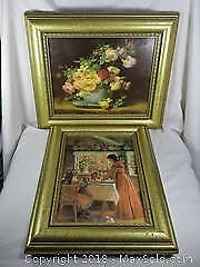 Pair Of Gold Toned Picture Frames With Pictures