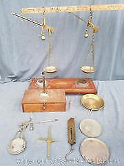 Two Brass Hanging Weigh Scales and Other Parts