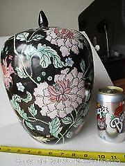 Large Size Ginger Jar. Hand Painted Ceramic With High Relief Flower Designs.