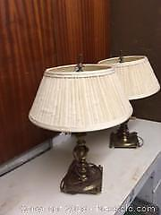 Pair of 2 Brass Style Bedroom Lamps