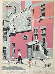 Frederick Taylor, Looking up St. Cecile Street, Montreal, colour serigraph, 1957