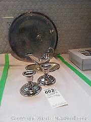 Silverplate Candlestick Holders, Gravy Bowl and Platter A