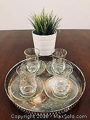 Crystal Glasses and Sterling Silver Platter