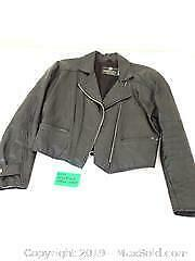 Retro black leather jacket Sz 10 A