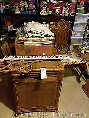 Vintage Wicker Look Trunk, Vintage Chair, Vintage Metal Door Sign and Vintage Carpet Beater C
